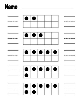 ten frame practice worksheet with dots and handwriting practice tpt. Black Bedroom Furniture Sets. Home Design Ideas