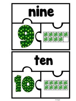 Ten Frame Puzzles:  Saint Patrick's Day Theme