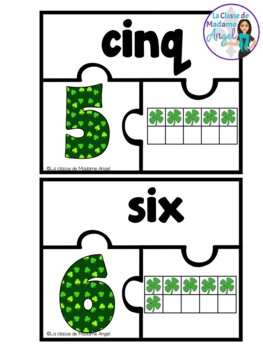 Ten Frame Puzzles in French:  Saint Patrick's Day Theme