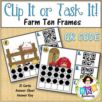 Ten Frame QR Code Counting Clip Cards or Task Cards