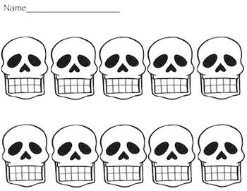 Ten Frame Skulls for Halloween or El Dia de los muertos- Kindergarten Math