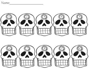 Ten Frame Skulls for Halloween or El Dia de los muertos- K