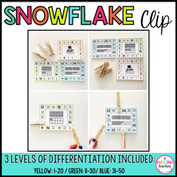 Ten Frame Snowman Clip Cards (Differentiated)