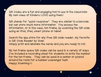 Ten Frame Space QR codes #1-20