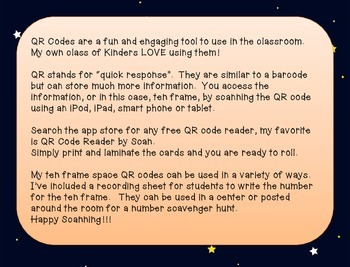 Ten Frame Space QR codes #1-20