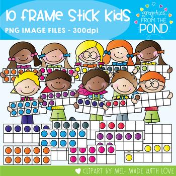 Ten Frame Stick Kids - Clipart for Math and Teaching