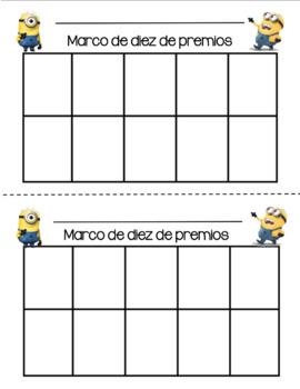 Ten Frame Sticker Chart English and Spanish