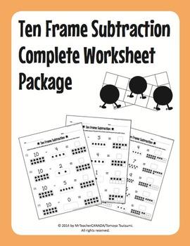 Ten Frame Subtraction Complete Worksheet Package (55 Worksheets)
