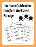 Ten Frame Subtraction Complete Worksheet Package (55 Worksheets)