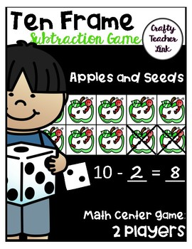 Ten Frame Subtraction Math Center Activity - Apples and Seeds