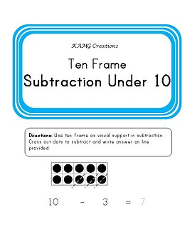 Ten Frame Subtraction Under 10