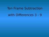 Ten Frame Subtraction with Counters Differences 3-9 Kindergarten Practice