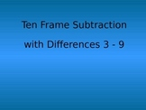 Ten Frame Subtraction with Counters Differences 3-9 Kinder