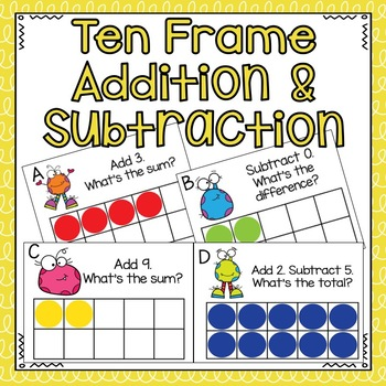 Ten Frame Addition and Subtraction by TheHappyTeacher | TpT