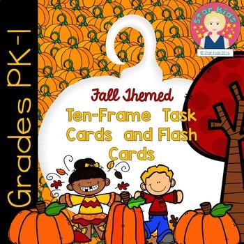 TEN FRAMES AND TASK CARDS - PUMPKIN THEMED