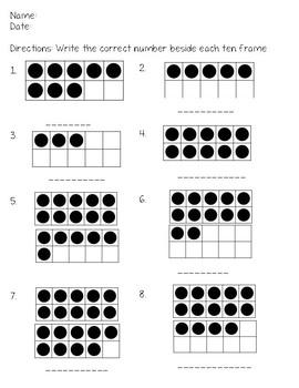Ten Frame Test/worksheet