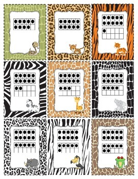 Ten Frame Top It 0-20 (Animal Themed)