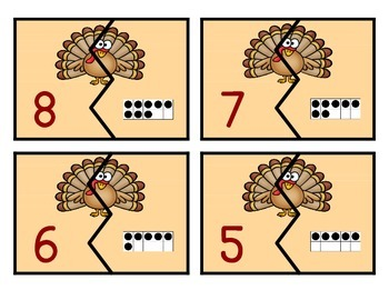 Turkey Ten Frame Matching Game 1-20