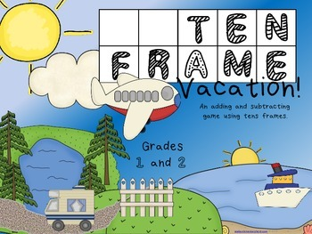 Math stations: Ten Frame Vacation - Addition and Subtraction Game