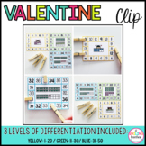 February Ten Frame Clip Cards Valentine (Differentiated)