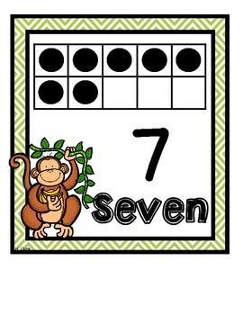 Number Sense Tens Frame Wall Cards & Printables~Jungle Animal Theme