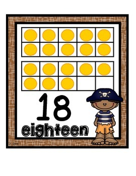 Number Sense Tens Frame Wall Cards & Printables~Pirate Theme