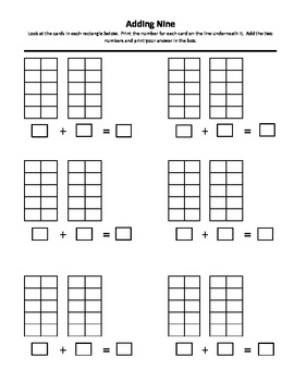 Adding Nine in Ten Frame Worksheet