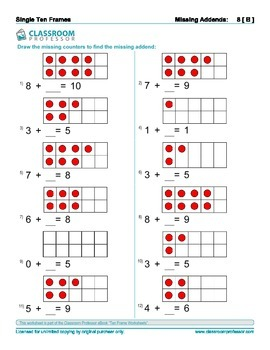 Ten Frame Worksheets Addition And Subtraction Of Numbers To 10
