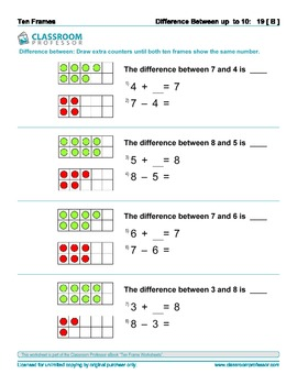 Ten Frame Worksheets - Addition, subtraction and multiplication of numbers to 20