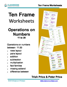 Ten Frame Worksheets - Addition, subtraction and multiplic