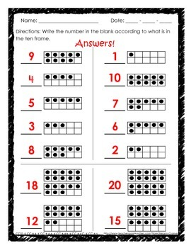 Ten Frame Worksheets or Assessments for 1-20: Fill in frame or number, matching