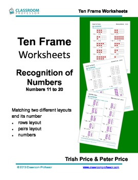 Ten Frame Worksheets - recognition of numbers 11 to 20