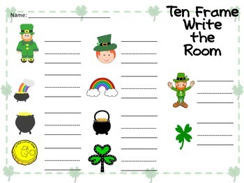 Ten Frame Write the Room-St. Patrick's Day theme
