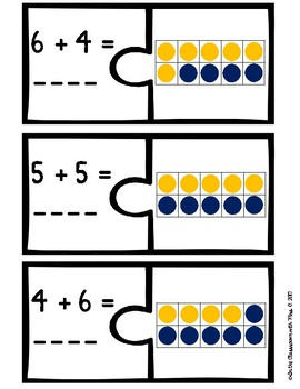 Ten Frame and Addition Equation Puzzles