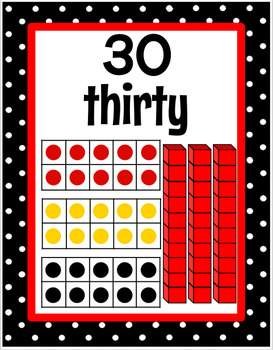 Ten Frame and Base Ten Block Number Posters 0-30 - Black and White Polka Dot