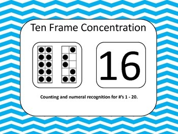 Ten Frame/Numeral Recognition Concentration Game (Numbers 1 - 20)
