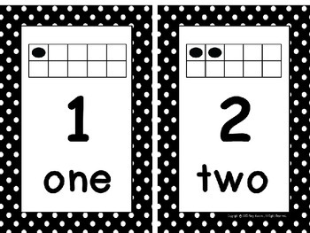 Ten Frame Number Card Posters 0-20 Black and White Polka Dots