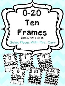 Ten Frames Posters Black & White 0-20