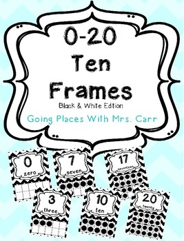Ten Frames Posters Black & White 0-20