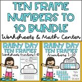 Ten Frames 1-10 Kindergarten Math Center & Worksheets Spring Theme BUNDLE