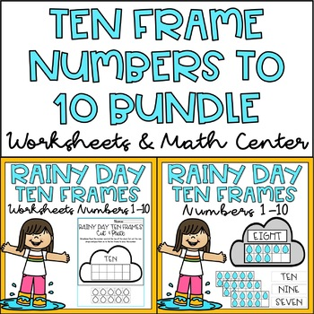 Ten Frames 1-10 Kindergarten Math Center & Worksheets Spring Theme BUNDLE