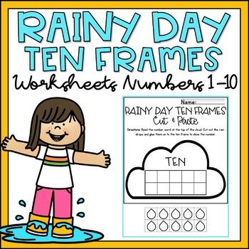 Number Sense Worksheets 1-10 Ten Frame Counting Cut & Paste