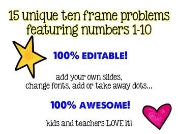 Ten Frames: 100% Editable, 100% AWESOME Powerpoint!  Quick Dots Number Talks