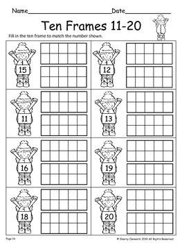 Ten Frames 11-20 Winter (Fill in the Ten Frames)