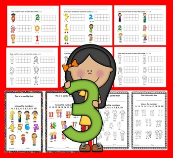 Ten Frames Counting and Coloring Activities 0-20 Pre-K and Kindergarten