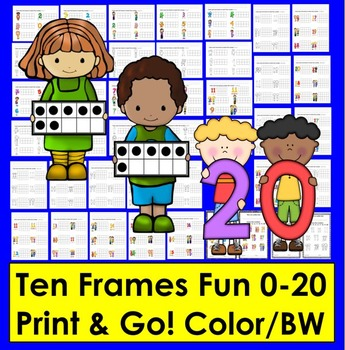 Ten Frames Counting and Coloring Activities 0-20 Pre-K and