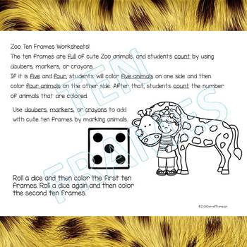 """Dab or Color """"Zoo"""" (Ten Frames)"""