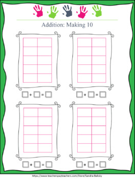 Ten Frame Game adding to 10 -- Game and journal sheet for 2 players