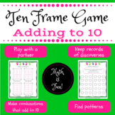 Ten Frames: Adding to 10 -- Game and journal sheet for 2 players