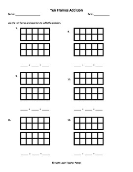 Ten Frames Addition Worksheet - Sums up to 20